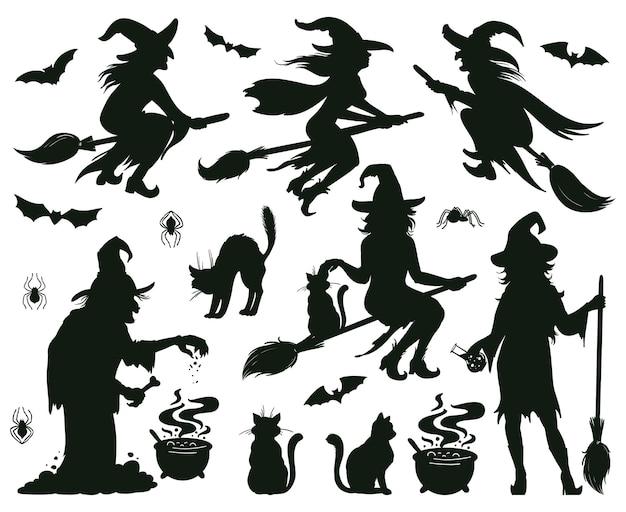 할로윈 마녀 실루엣입니다. 빗자루, 모자, 박쥐를 가진 마법의 마녀 숙녀, 무서운 마녀 마법의 벡터 삽화. 여성 마법사 실루엣입니다. 빗자루와 할로윈 마녀 마술 실루엣