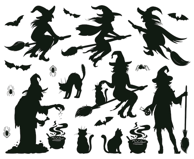 Halloween witch silhouettes. magic witch ladies with broomstick, hats and bats, scary witches magic vector illustration. female wizards silhouettes. halloween witch magic silhouette with broomstick