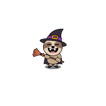 Halloween witch sloth cartoon character