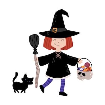 Ведьма хэллоуина с черной кошкой.
