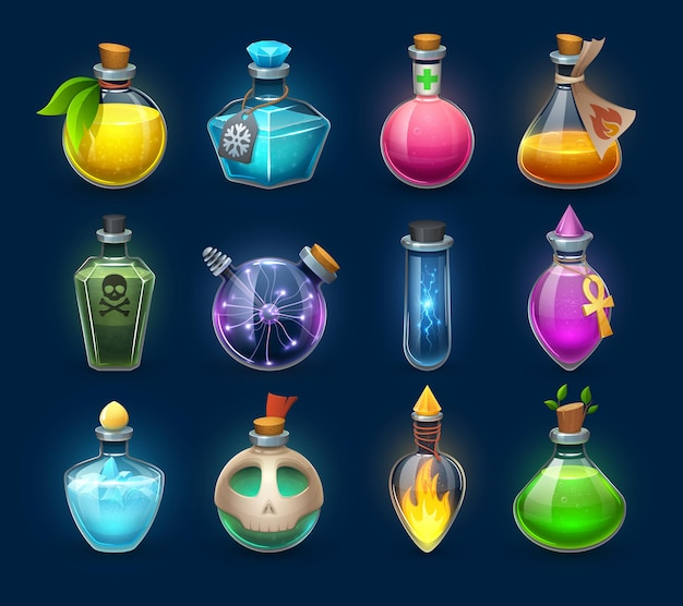 Halloween witchcraft, potion and poison cartoon bottles, phials and flasks, vector. magic potion and witch elixir in crystal glass jars with love potion, energy power spell, magic fire and death skull