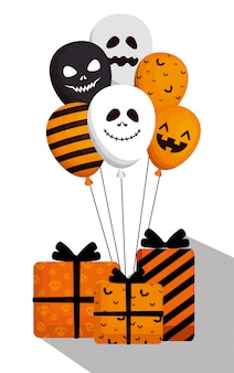 Halloween  with balloons helium and gifts