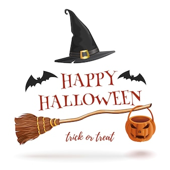 Halloween  with bats, witches broom and hat