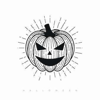 Halloween with black line illustration