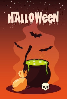 Halloween with cauldron and icons