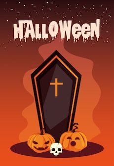 Halloween with coffin and icons