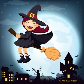 Halloween with cute witch on the full moon.