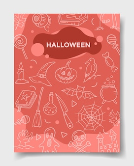 Halloween with doodle style for template of banners, flyer, books, and magazine cover vector illustration