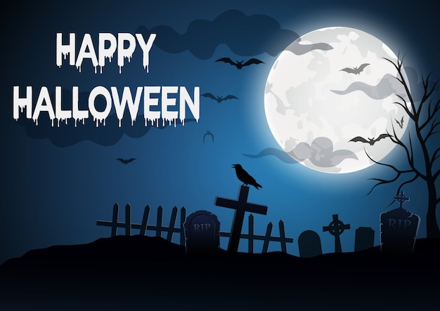 Halloween, with a grave background,vector illustration