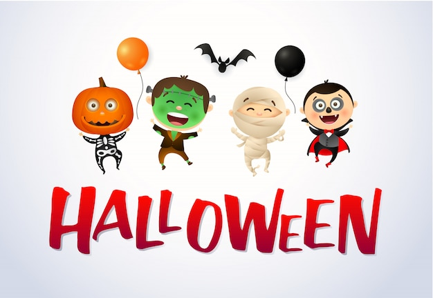 Halloween with happy kids wearing monsters costumes