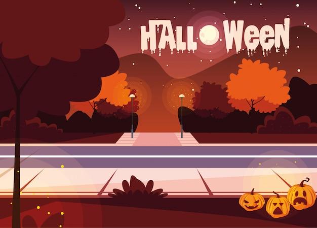 Halloween with landscape scene