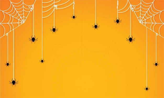 蜘蛛の巣黄色の背景とハロウィーン