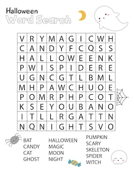 Halloween word search crossword puzzle for children. educational activity worksheet.