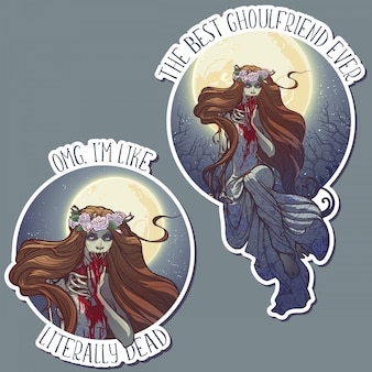Halloween zimbie bride sitting on a grave stone in the moonlit forest over the graveyard. halloween sticker set.