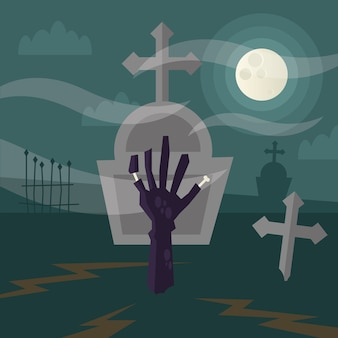Halloween zombie hand at cemetery illustration