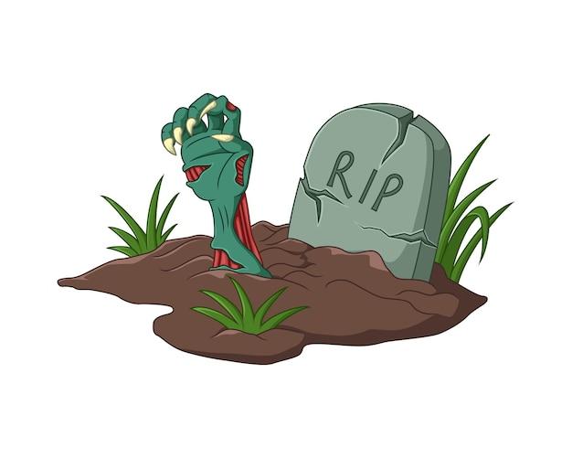 무덤에서 나오는 할로윈 좀비 손