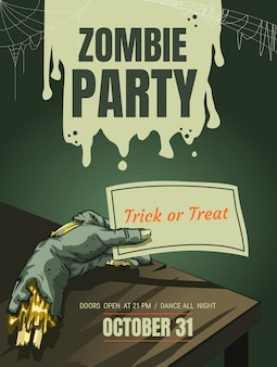 Halloween zombie hand party poster background template