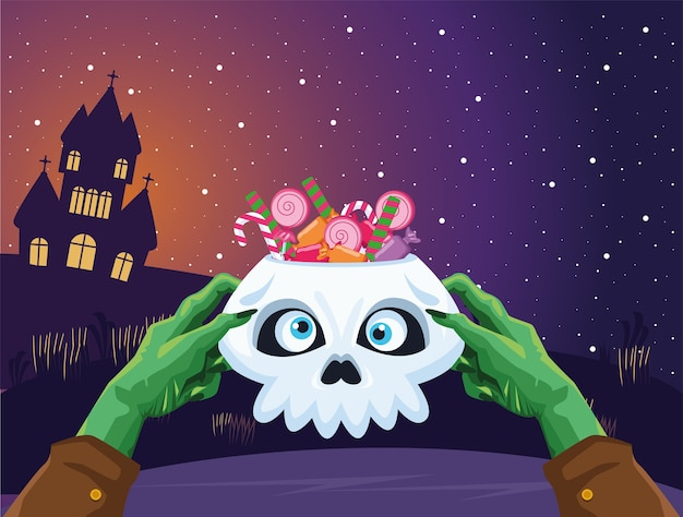 할로윈 좀비 손 사탕 디자인, 휴일 및 무서운 테마로 두개골을 들고