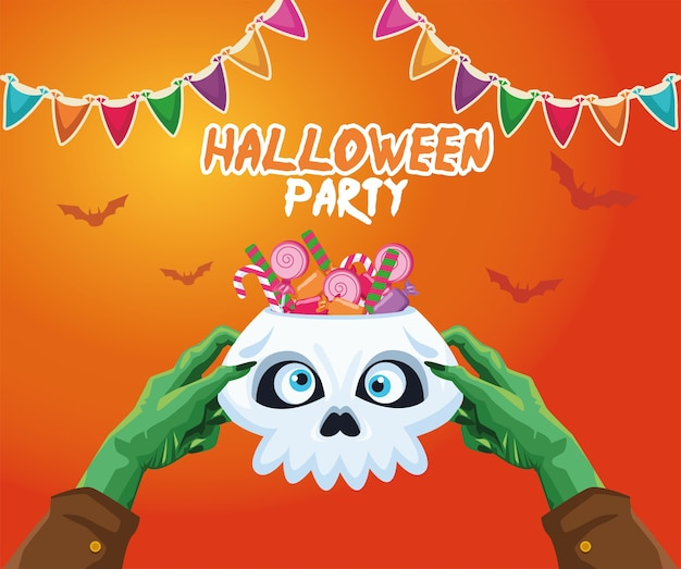 Halloween zombie hands holding skull with candies design, holiday and scary theme