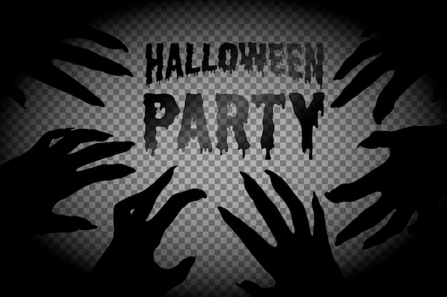 Halloween, zombie hands. rectangular frame with a silhouette of the hands of a zombie and the dead. carved out of paper. on a transparent background, isolated, with place for text. vector.