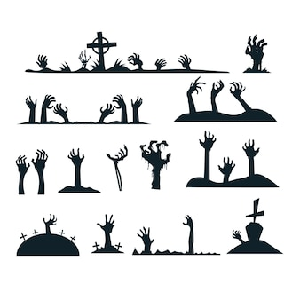 Halloween zombie hands silhouette collection