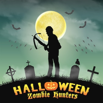 Halloween zombie hunter with crossbow in graveyard