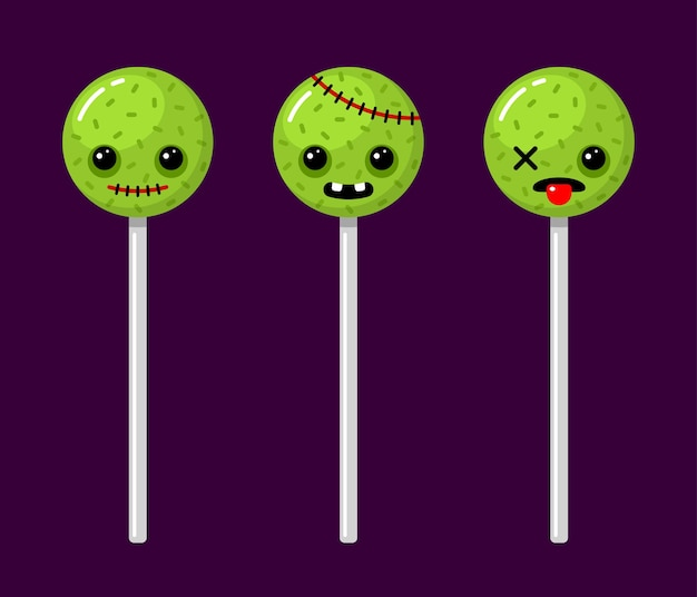 Halloween zombie lollipops scary characters candy set vector cartoon illustrations