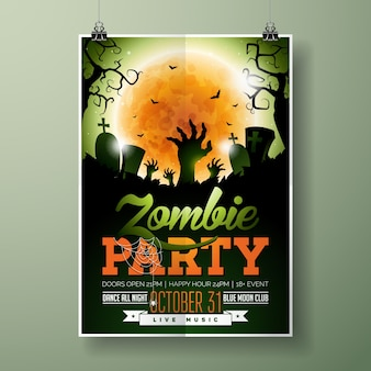 Halloween zombie party flyer vector illustration with hands and cemetery on green sky background. holiday design with orange moon, spiders and bats for party invitation, greeting card, banner, poster.