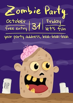 Halloween zombie party poster with monster head