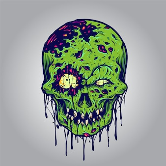 Halloween zombie skull illustrations for merchandise clothing line and sticker