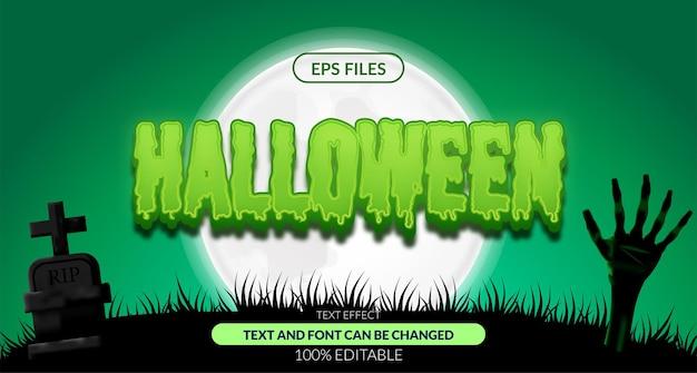 할로윈 좀비 으스스한 편집 가능한 텍스트 효과입니다. eps 벡터 파일입니다. 포스터 배너 풍경 공포 밤