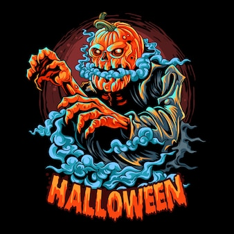 A halloween zombie with a pumpkin head filled with smoke coming out of its mouth. editable layers artwork