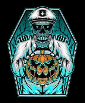 Halloween zombie with a pumpkin head. premium vector