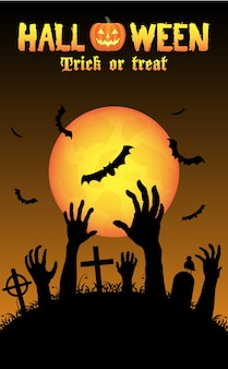 Halloween zombies hand in a graveyard