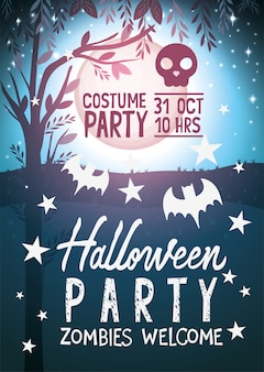 Halloween zombies welcome party poster
