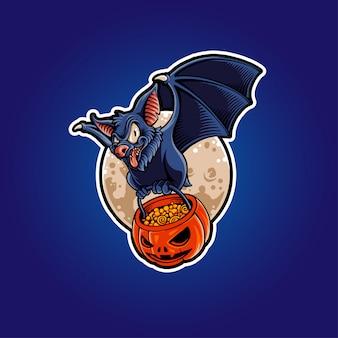 Иллюстрация halloween летучая мышь с тыквой