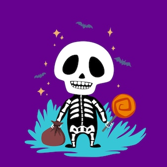 Halloweenbaby skeleton with candy.