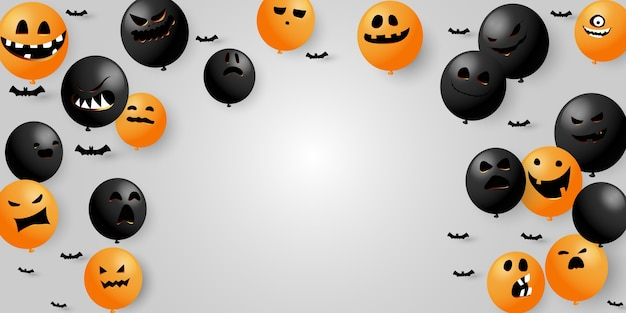 Halloweencollection воздушные шары страшные и забавные светящиеся лица тыквы или привидения.