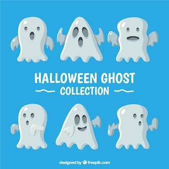 Hallowen ghosts with flat design