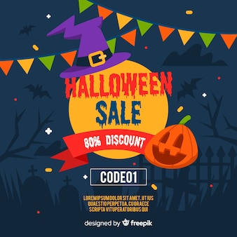 Hallowen sale with discount in flat design