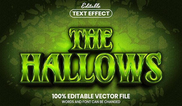 The hallows text, font style editable text effect
