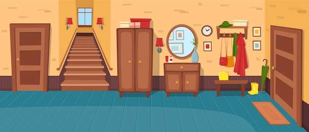 Hallway background. panorama with stairs, doors, wardrobe, chest of drawers, mirror, coat rack with clothes, umbrella.