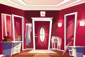 Hallway room or corridor interior illustration of retro or modern apartment