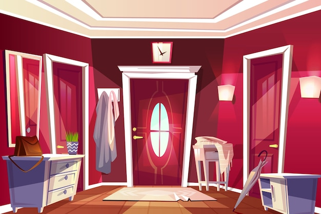 Прихожая комната или коридор интерьер иллюстрации ретро или современной квартиры