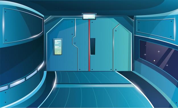 Hallway in spaceship with closed door. futuristic interior room.