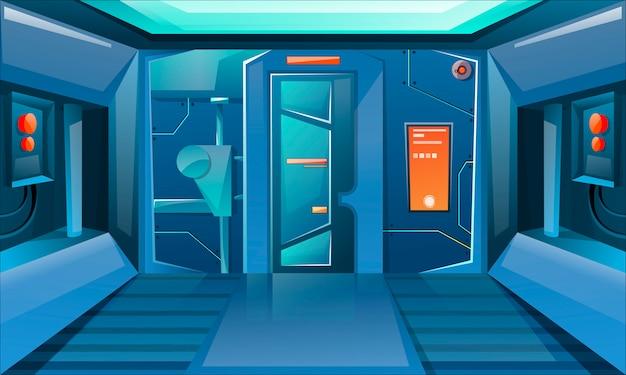 Hallway in spaceship with closed door. futuristic interior room