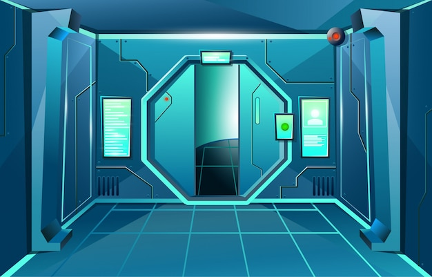 Hallway in spaceship with open door and camera . futuristic interior room for games and applications.