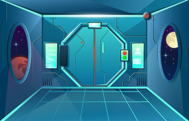 Hallway in spaceship with porthole and camera . futuristic interior room with door for games and applications