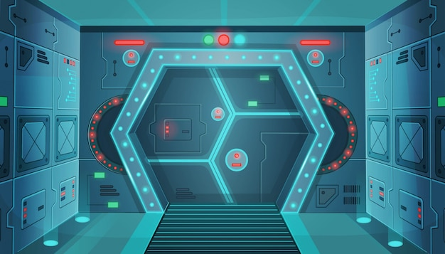 Hallway with a door in a spaceship. cartoon background interior room sci-fi spaceship. background for games and mobile applications.