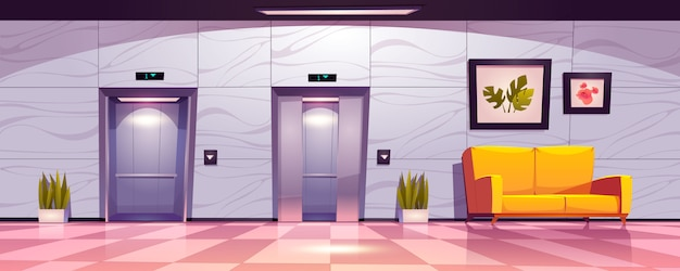 Hallway with lift doors, empty lobby interior with couch, slightly ajar and open elevator gates.
